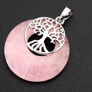 Rose quartz crystal tree of life pendant